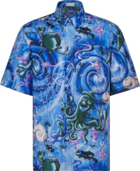 Dior x Kenny Scharf Blue Swirl 'Sealife' Shirt