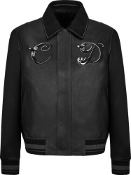 Dior x Kenny Scharf Black Leather 'CD' Jacket