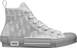Grey Reflective Oblique High-Top 'B23' Sneakers