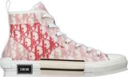 White & Red Oblique 'B23' High-Top Sneakers