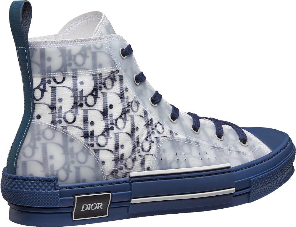 Dior B23 High Top Sneaker In Blue Dior Oblique