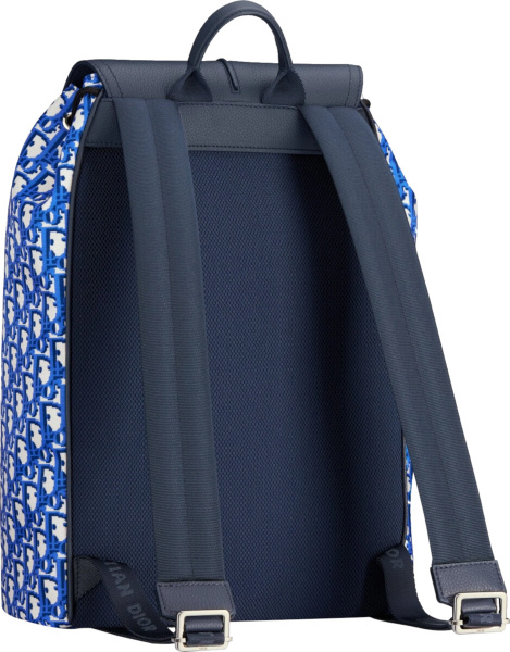 Dior Blue Oblique Pixel Nylon And Navy Blue Grained Calfskin