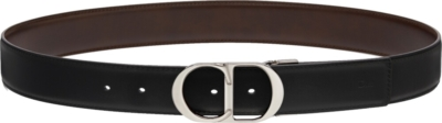Dior 'cd' Buckle Belt In Brown And Black Leather