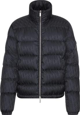 Dior 'dior Oblique' Print Black Puffer Coat