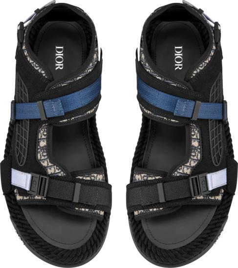 Dior Dior Beige And Black Oblique Atlas Sandals