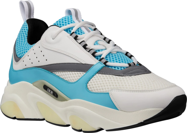 Dior Light Blue And White Technical Mesh And Calfskin Sneakers