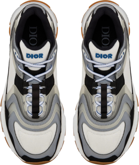 Dior White Mesh And Gray And Black Technical Fabric Sneakers