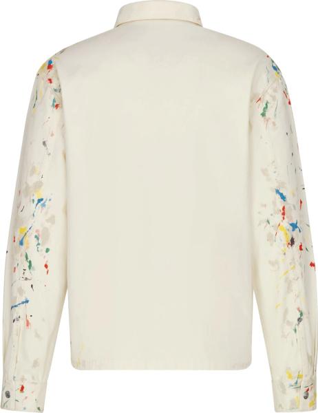 Dior White Paint Splatter Overshirt