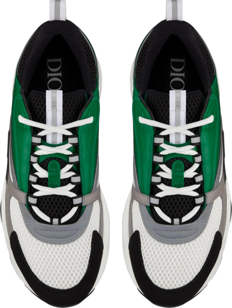 Dior White And Black Technical Mesh And Green And Gray Calfskin