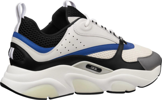 Dior White And Black Technical Mesh And White, Black And Blue Calfskin