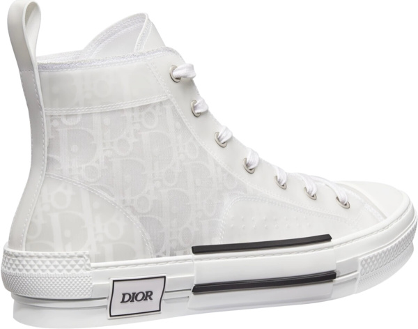 Dior All White Oblique High Top Sneakers