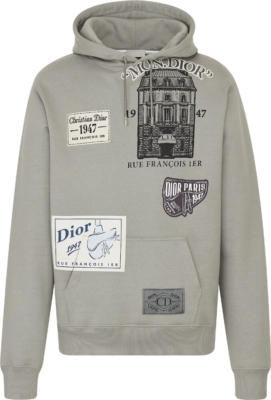 Dior Archives Patch Grey Hoodie