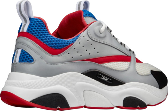 Dior B22 Gray And Red Calfskin With White And Blue Technical Mesh Sneakers