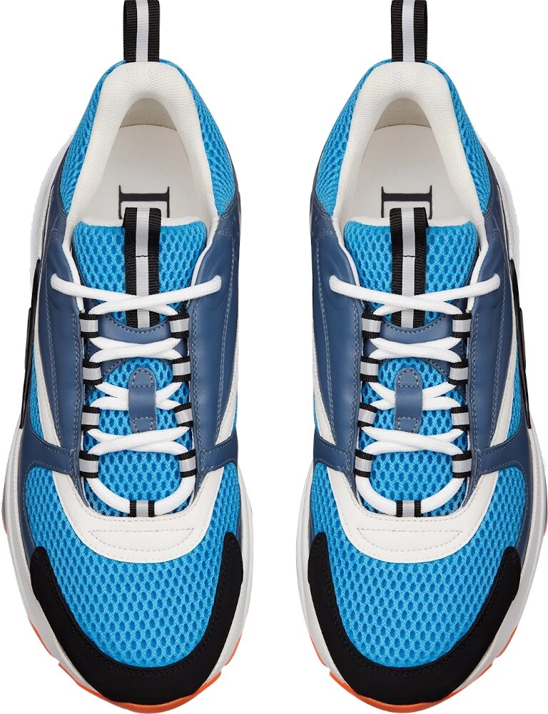 Dior B22 Sneaker In Blue Technical Knit And Blue And White Calfskin