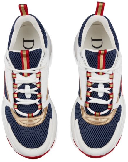 Dior B22 Sneakers Red White And Blue With Gold Reflective Trim