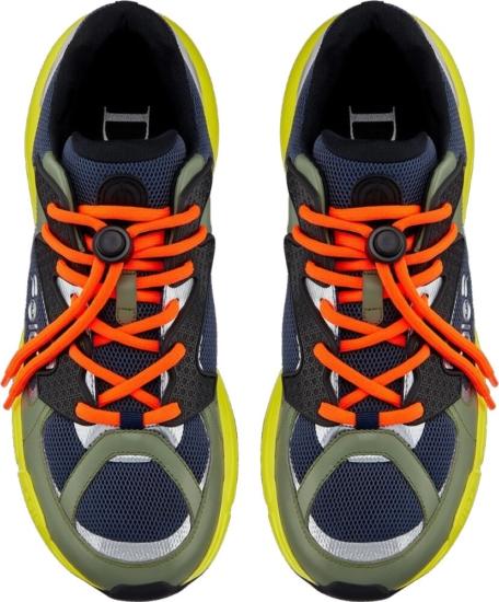 Dior B24 Soyarama Green Blue And Yellow Colorblock Sneakers