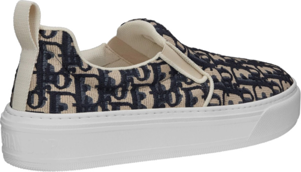 Dior Beige And Blue Slip On Knit Sneakers