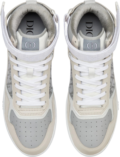 Dior Beige And Grey Oblique High Top B27 Sneakers