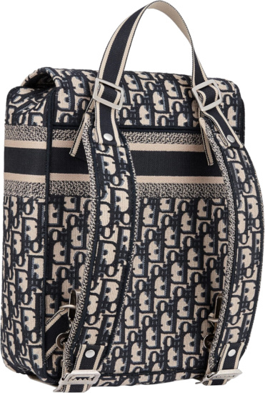 Dior Beige And Navy Oblique Navy Flap Backpack