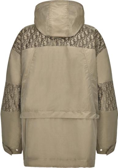 Dior Beige And Oblique Paneled Hooded Parka Jacket