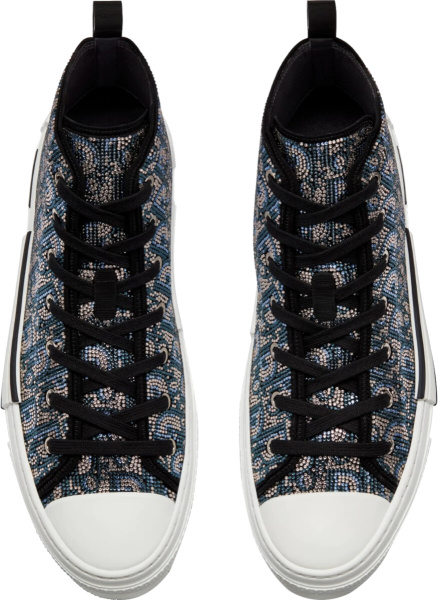Dior Beige Blue Oblique Strass B23 High Top Sneakers