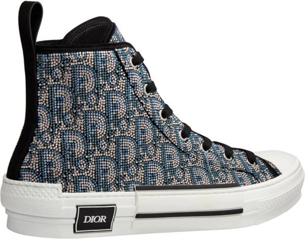 Dior Beige Oblique Allover Sequin Crystl Sneakers