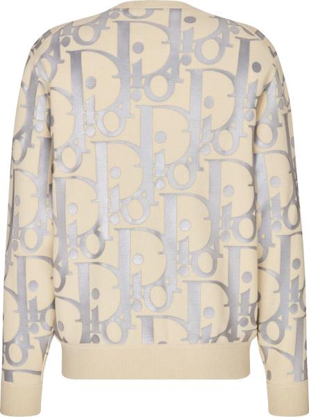 Dior Beige Reflective Oblique Print Sweatshirt