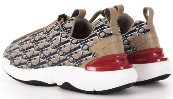 Dior Beige Sneakers With Allover Print And Red Heel