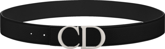 Dior Black And Silver Tone Cd Buckle Belt