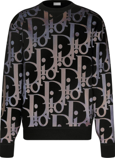 Dior Black And Silver Tone Reflective Oversized Oblique Print Crewneck Sweatshirt