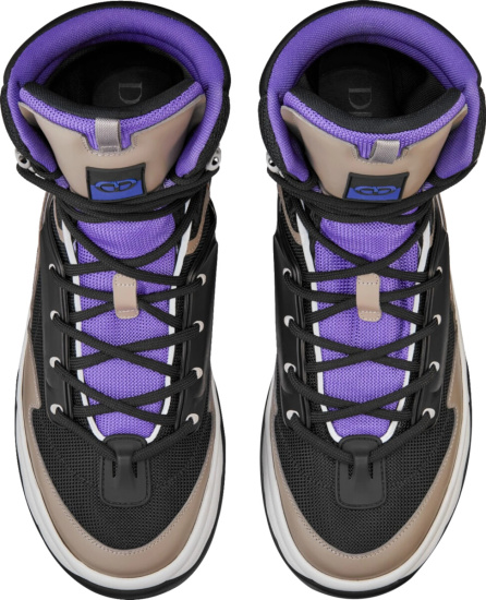 Dior Black Beige And Purple Snow Boots