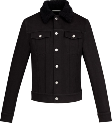 Dior Black Denim Jacket With Sherling Fur Collar
