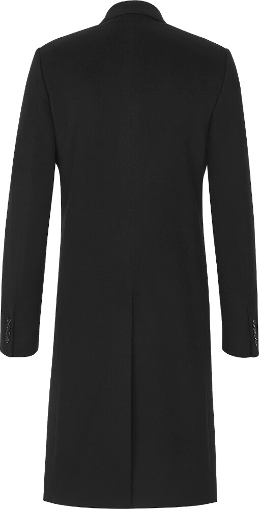 Black Logo-Strap Double Breasted Coat