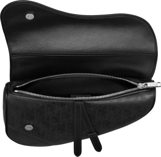 Dior Black Galaxy Oblqiue Perfoated Saddle Bag