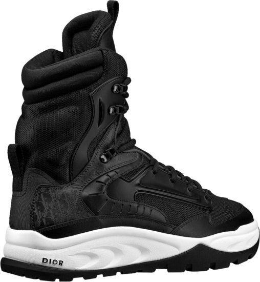 Dior Black Lace Up Ankle Snow Boots