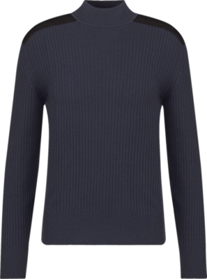 Dior Black Patch Navy Ribbed Sweater