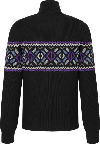 Dior Black Purple Argyle Turtleneck Sweater