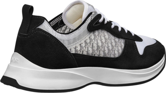 Dior Black Suede White Oblique B25 Runner Sneakers