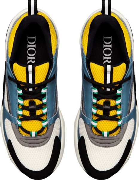Dior Blue And Yellow B22 Sneakers