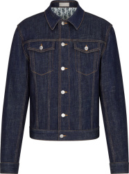 Dior Blue Denim Oblique Print Jacket