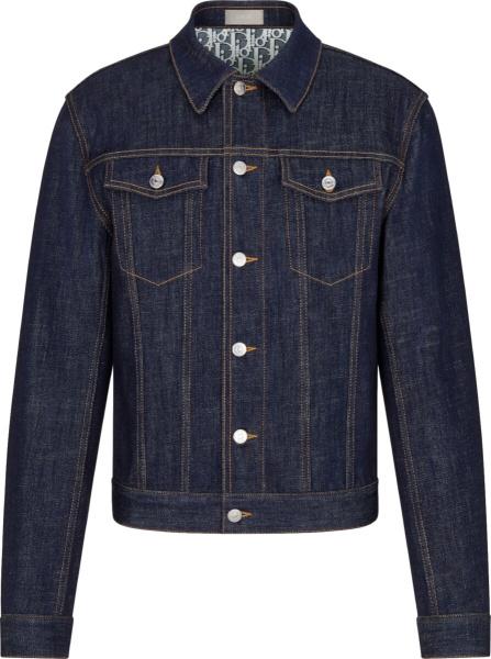 Dior Blue Denim Oblique Print Jacket
