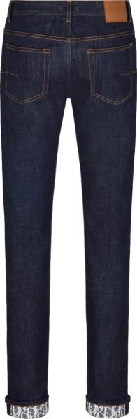 Dior Blue Denim Oblique Print Lined Pants