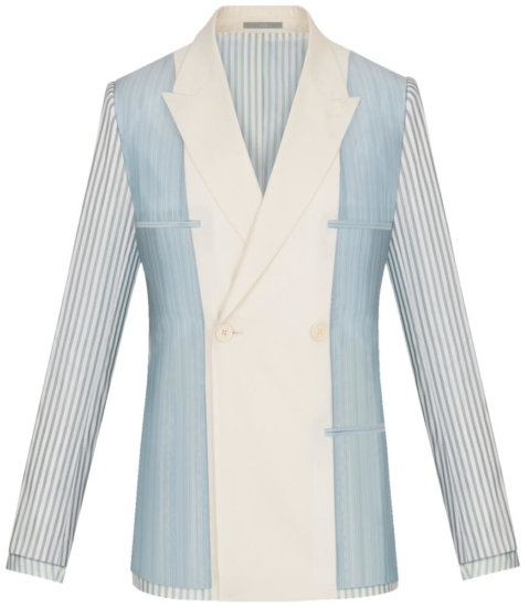 Dior Blue Double Breasted Blazer With White Lapels