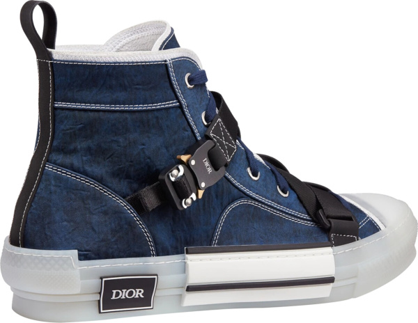 Dior Blue Nylon Buckled High Top Sneakers