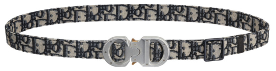 Dior Canvas Logo Print Belt With Rollercoaster Buckle