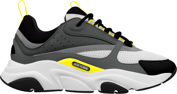 Dior Dark Grey And Yellow B22 Sneakers