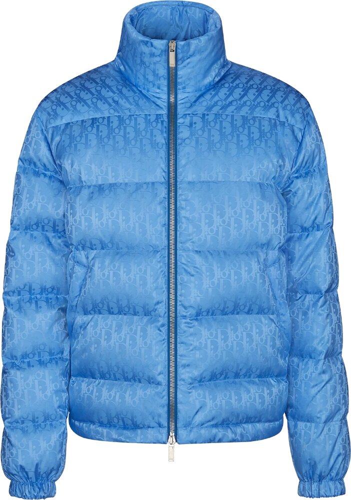 Dior 'dior Oblique' Blue Puffer Jacket