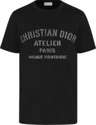 Distressed 'Atelier' Print Black T-Shirt
