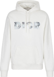 Dior Eroded 3d Logo Print White Hoodie