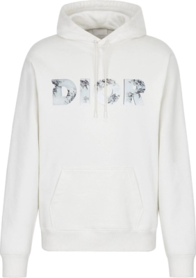 Dior Eroded 3d Logo Print White Hoodie